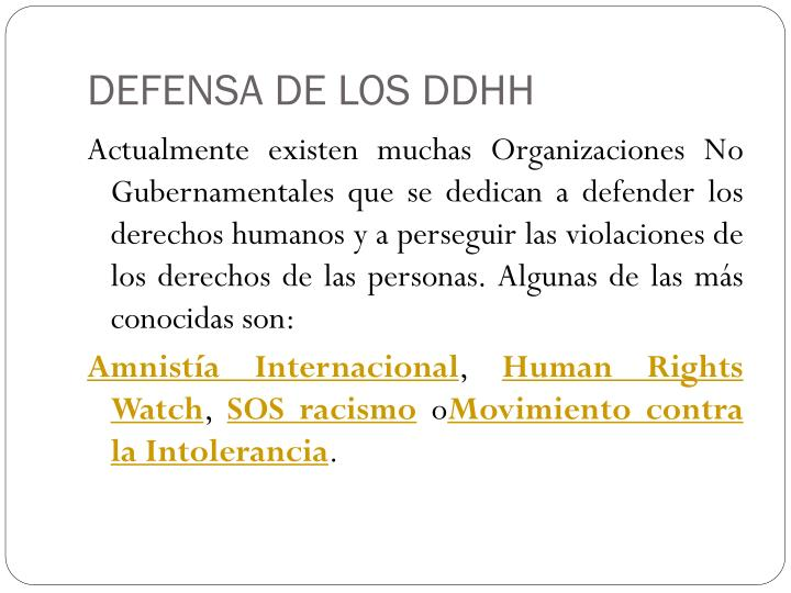 DEFENSA DE LOS DDHH