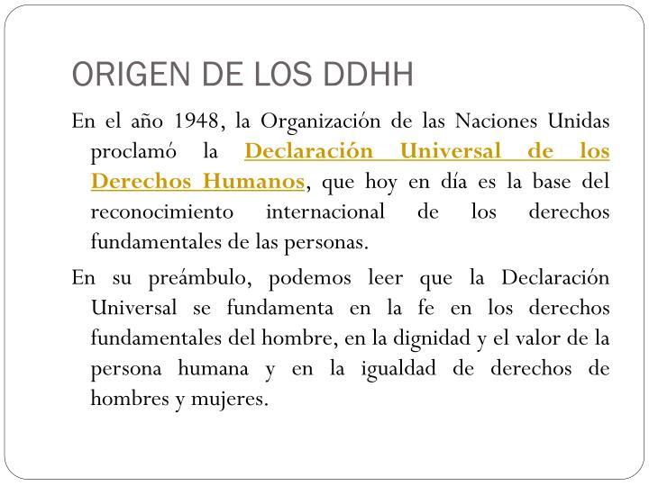 ORIGEN DE LOS DDHH