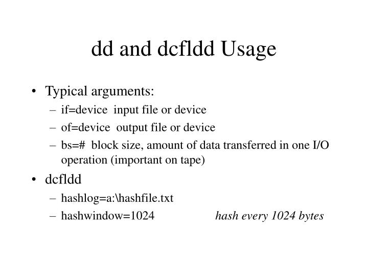 dd and dcfldd Usage