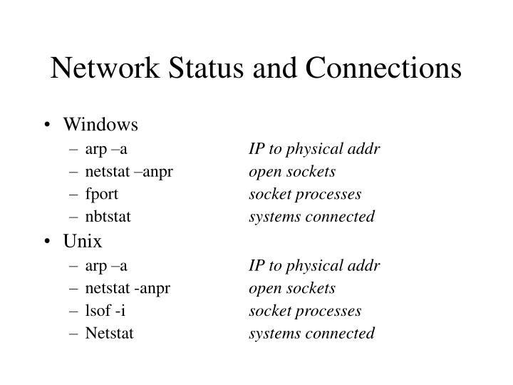 Network Status and Connections