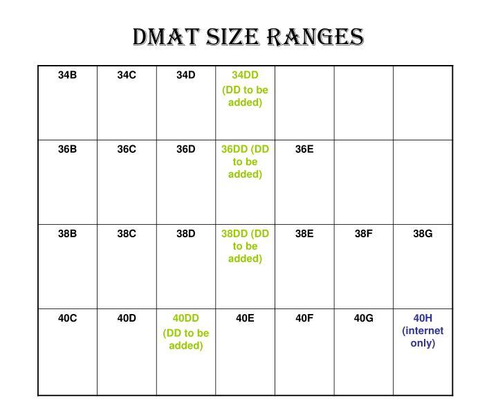 Dmat size ranges