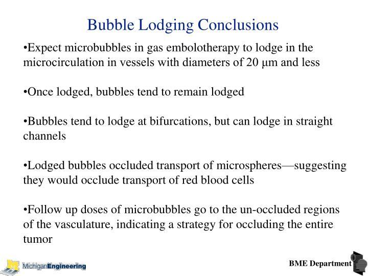 Bubble Lodging Conclusions