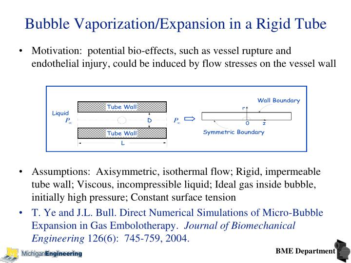 Bubble Vaporization/Expansion in a Rigid Tube