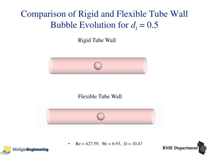 Comparison of Rigid and Flexible Tube Wall Bubble Evolution for