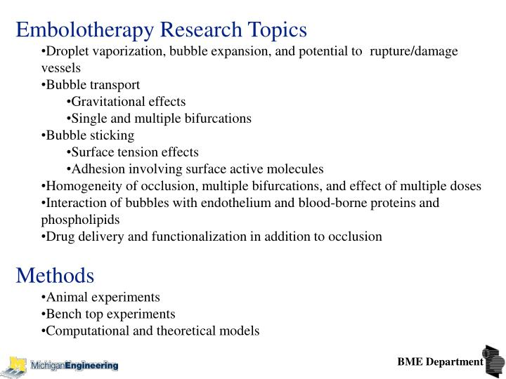 Embolotherapy Research Topics
