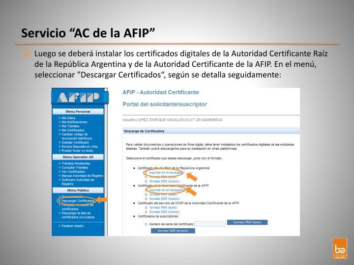 """Servicio """"AC de la AFIP"""""""