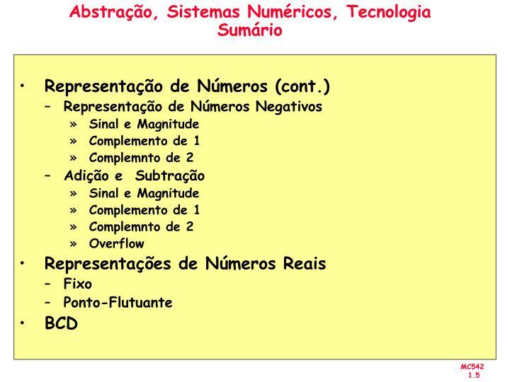 Abstração, Sistemas Numéricos, Tecnologia