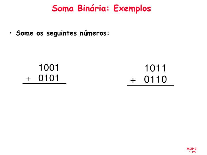 Soma Binária: Exemplos