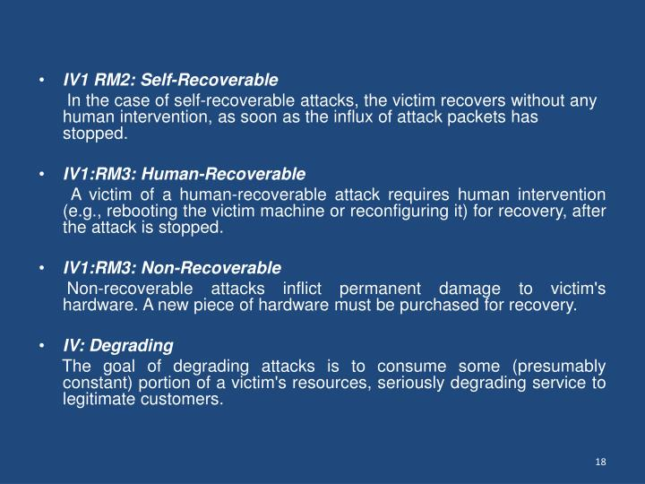 IV1 RM2: Self-Recoverable