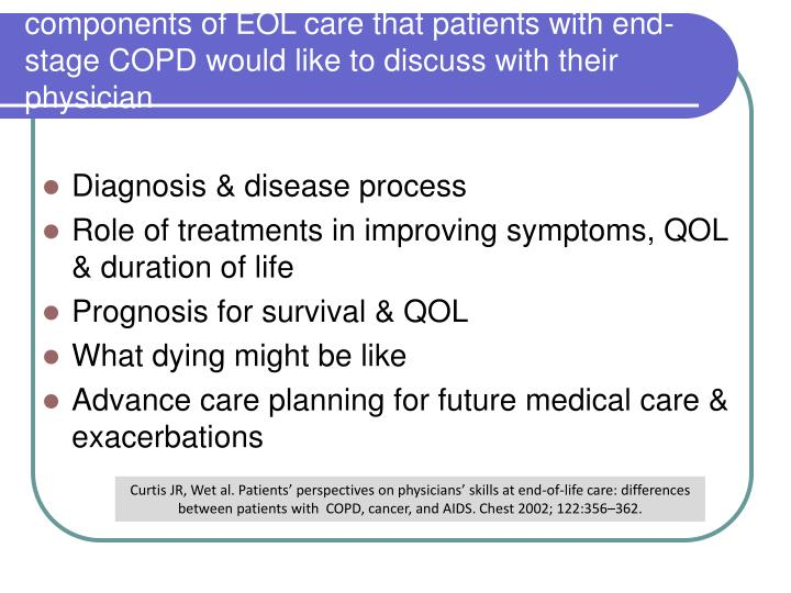 components of EOL care that patients with end-stage COPD would like to discuss with their physician