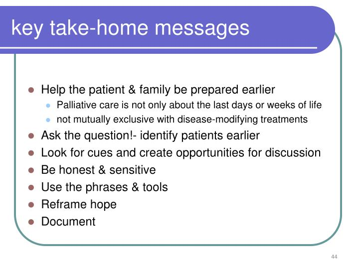 key take-home messages