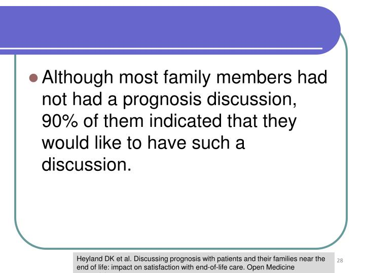 Although most family members had not had a prognosis discussion, 90% of them indicated that they would like to have such a discussion.