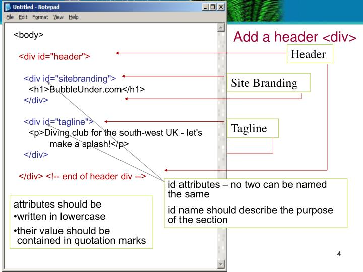 Add a header <div>