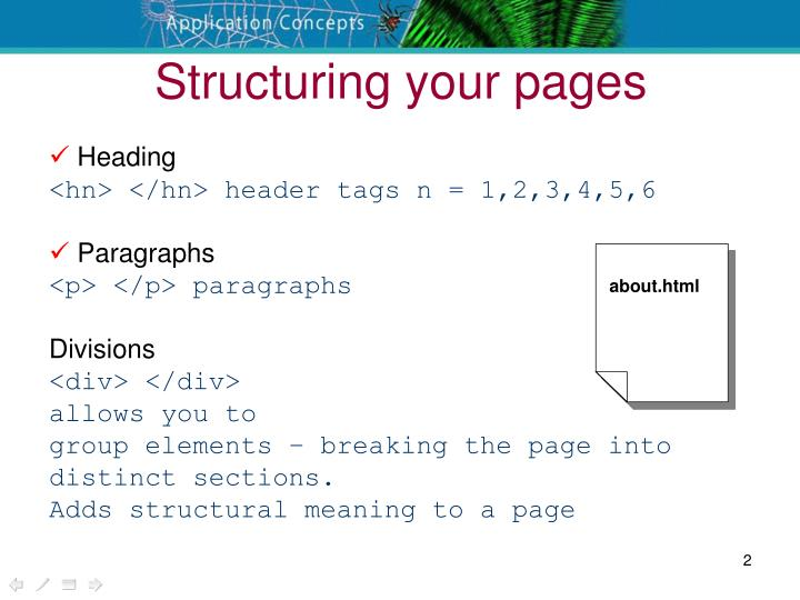 Structuring your pages