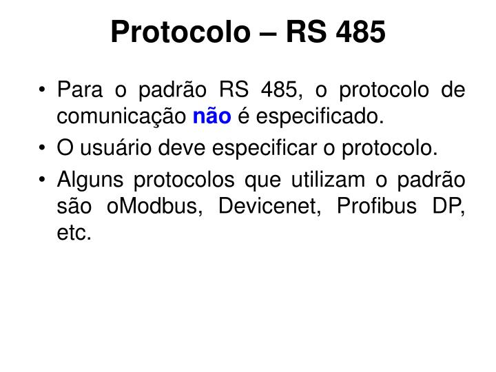 Protocolo – RS 485