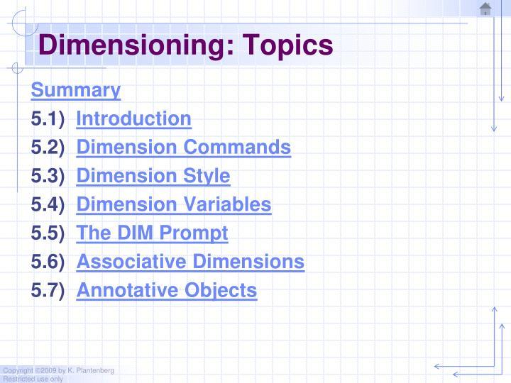 Dimensioning: Topics