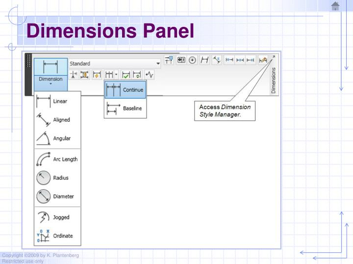 Dimensions Panel