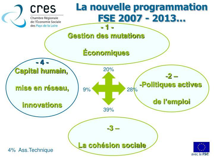 La nouvelle programmation FSE 2007 - 2013…