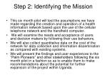 step 2 identifying the mission