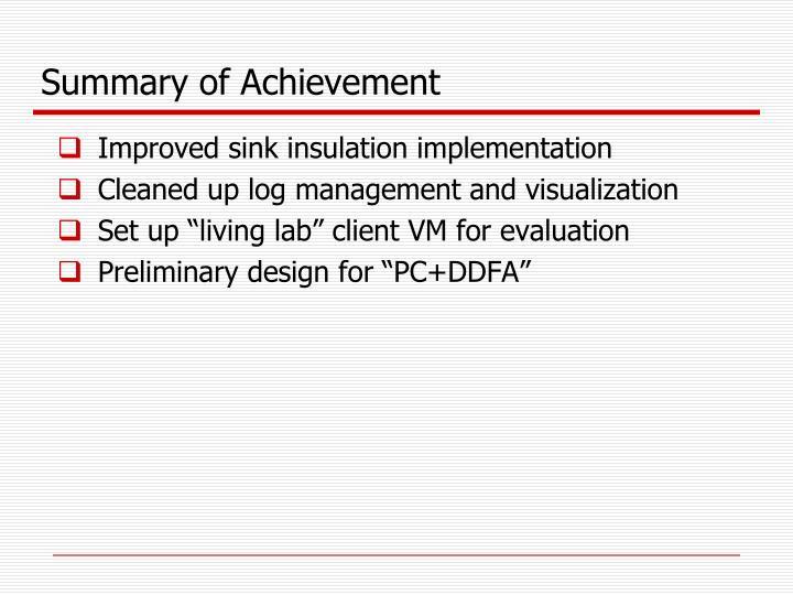 Summary of Achievement