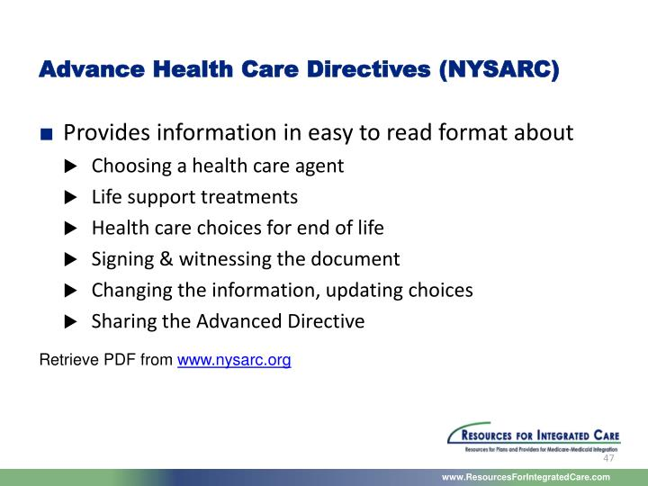 Advance Health Care Directives (NYSARC)