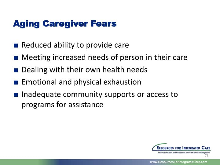 Aging Caregiver Fears