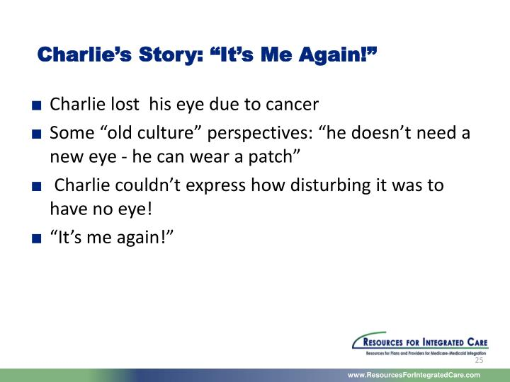 """Charlie's Story: """"It's Me Again!"""""""