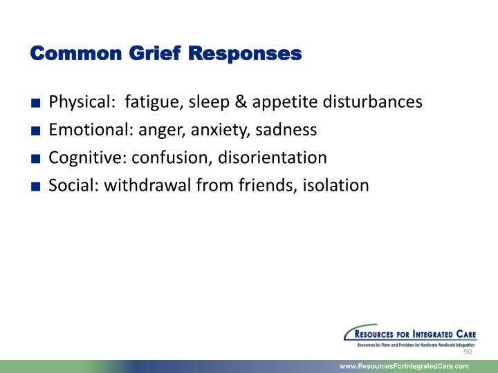 Common Grief Responses