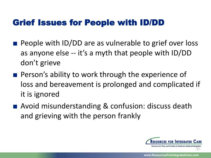 Grief Issues for People with ID/DD