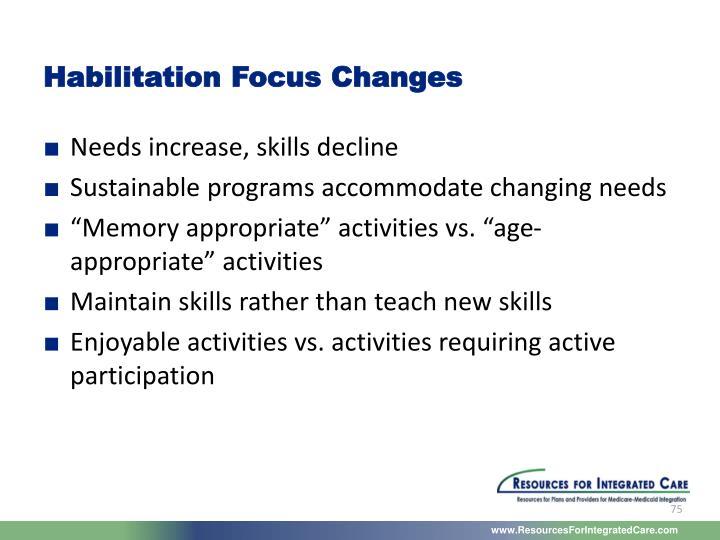 Habilitation Focus Changes
