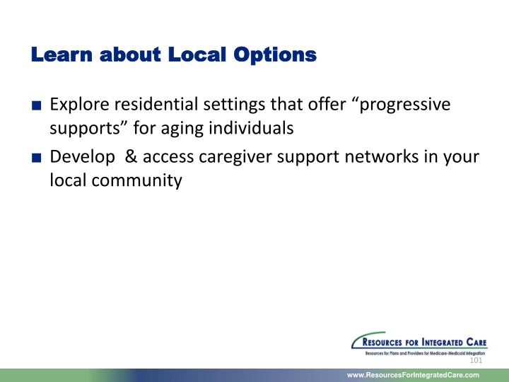 Learn about Local Options