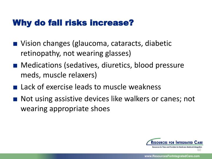 Why do fall risks increase?