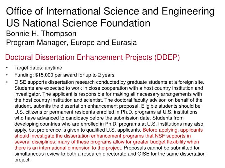 Doctoral Dissertation Enhancement Projects
