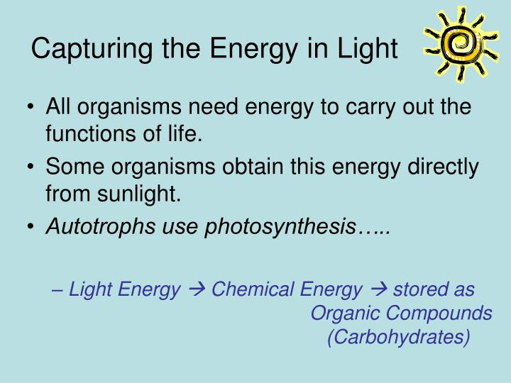 Capturing the Energy in Light