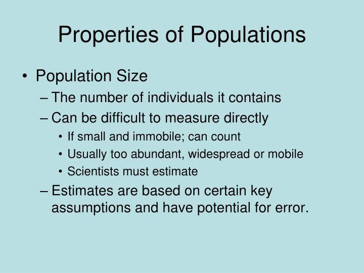 Properties of Populations