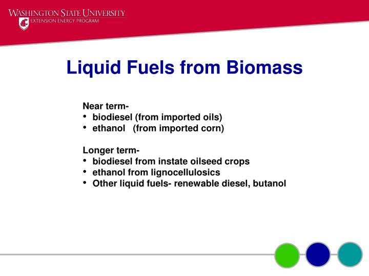 Liquid Fuels from Biomass