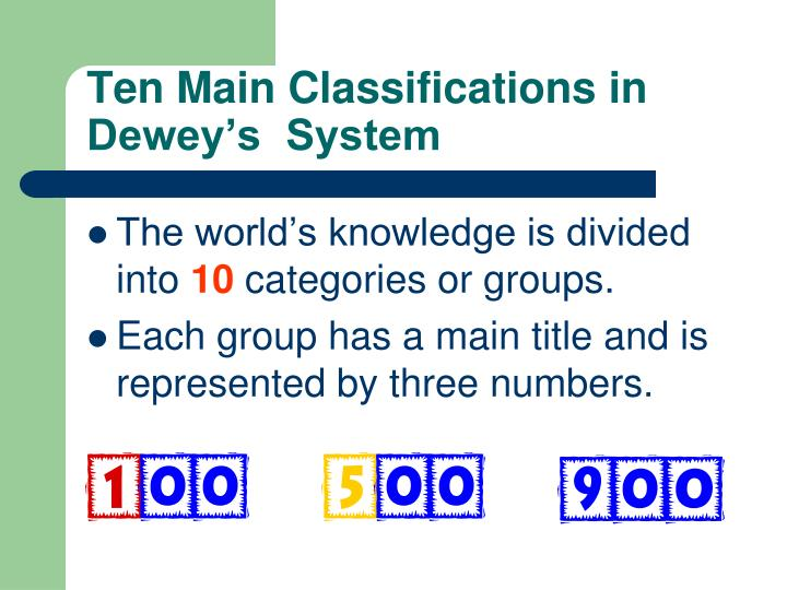 Ten Main Classifications in Dewey's  System