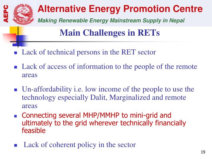 Main Challenges in RETs