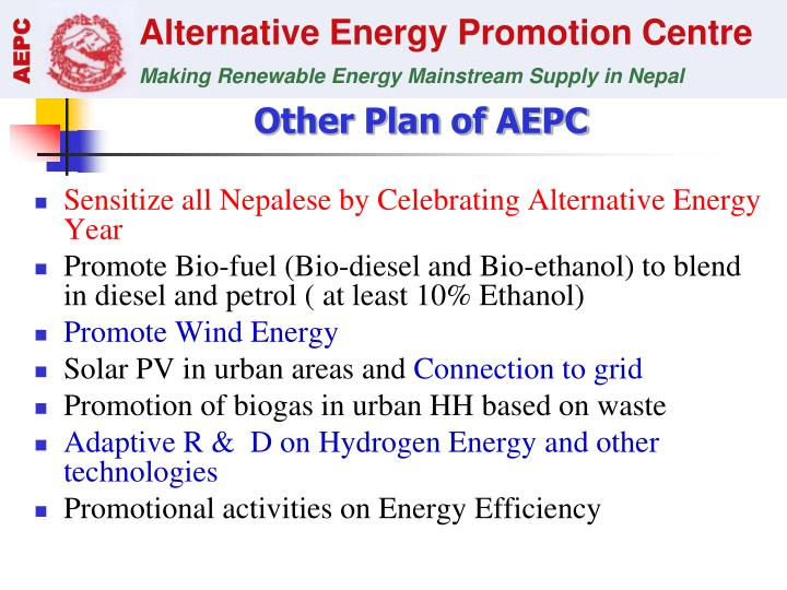 Other Plan of AEPC