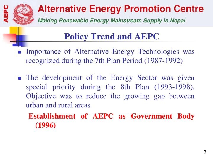 Policy Trend and AEPC