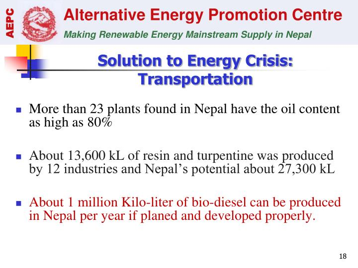 Solution to Energy Crisis: Transportation
