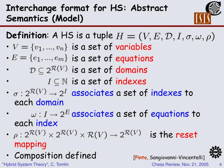 Interchange format for HS: Abstract Semantics (Model)