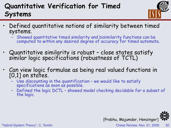 Quantitative Verification for Timed Systems