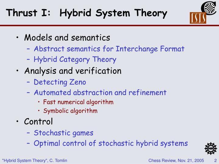 Thrust I:  Hybrid System Theory