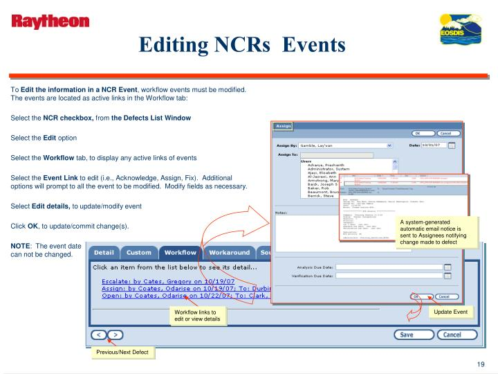 Editing NCRs  Events