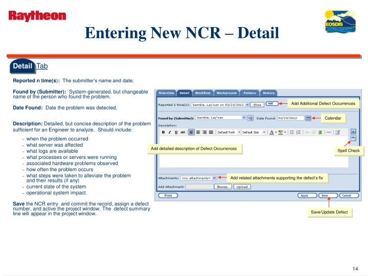 Entering New NCR – Detail