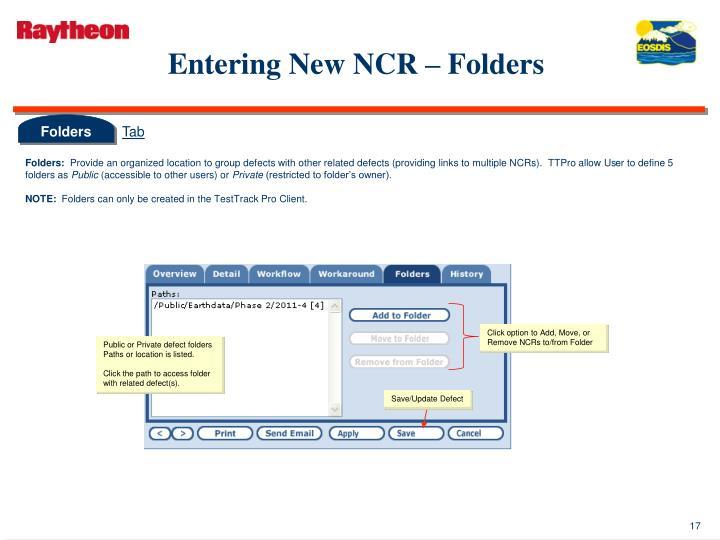 Entering New NCR – Folders
