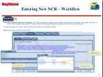 entering new ncr workflow