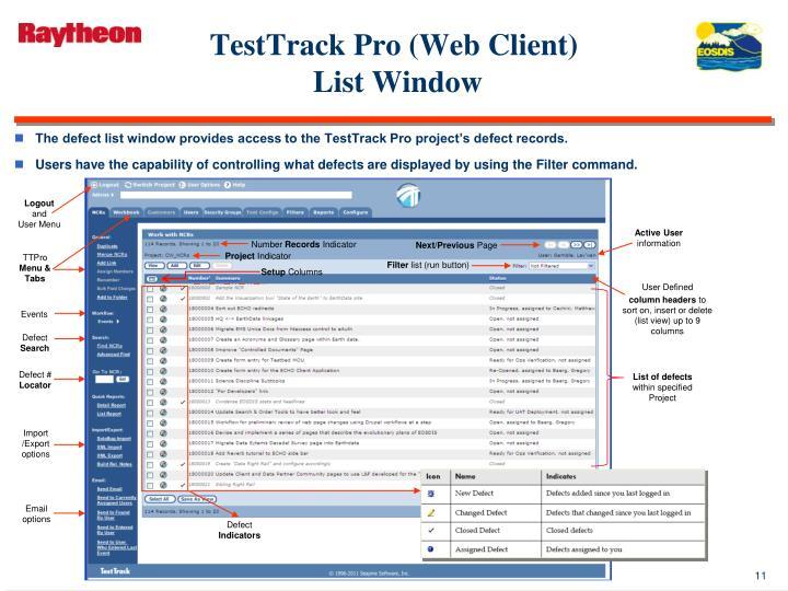 TestTrack Pro (Web Client)
