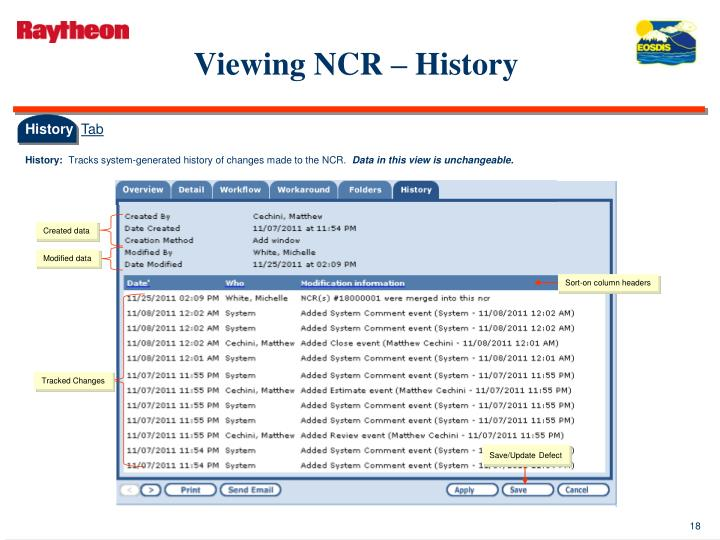 Viewing NCR – History